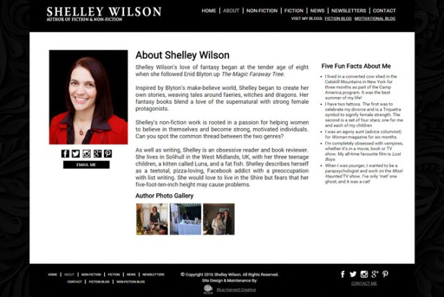 Shelley Wilson Website: About Page