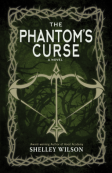 The Phantom's Curse book cover in dark green with a cross bow in the centre of the page
