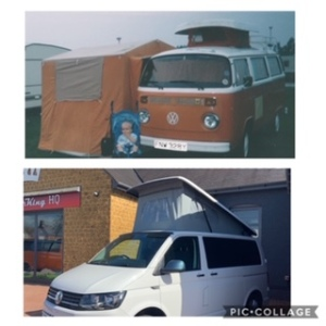 Campervan Writer, two photos of VW campervans the first is an orange and white bay window 1975 and the second is a white transporter conversion 2017