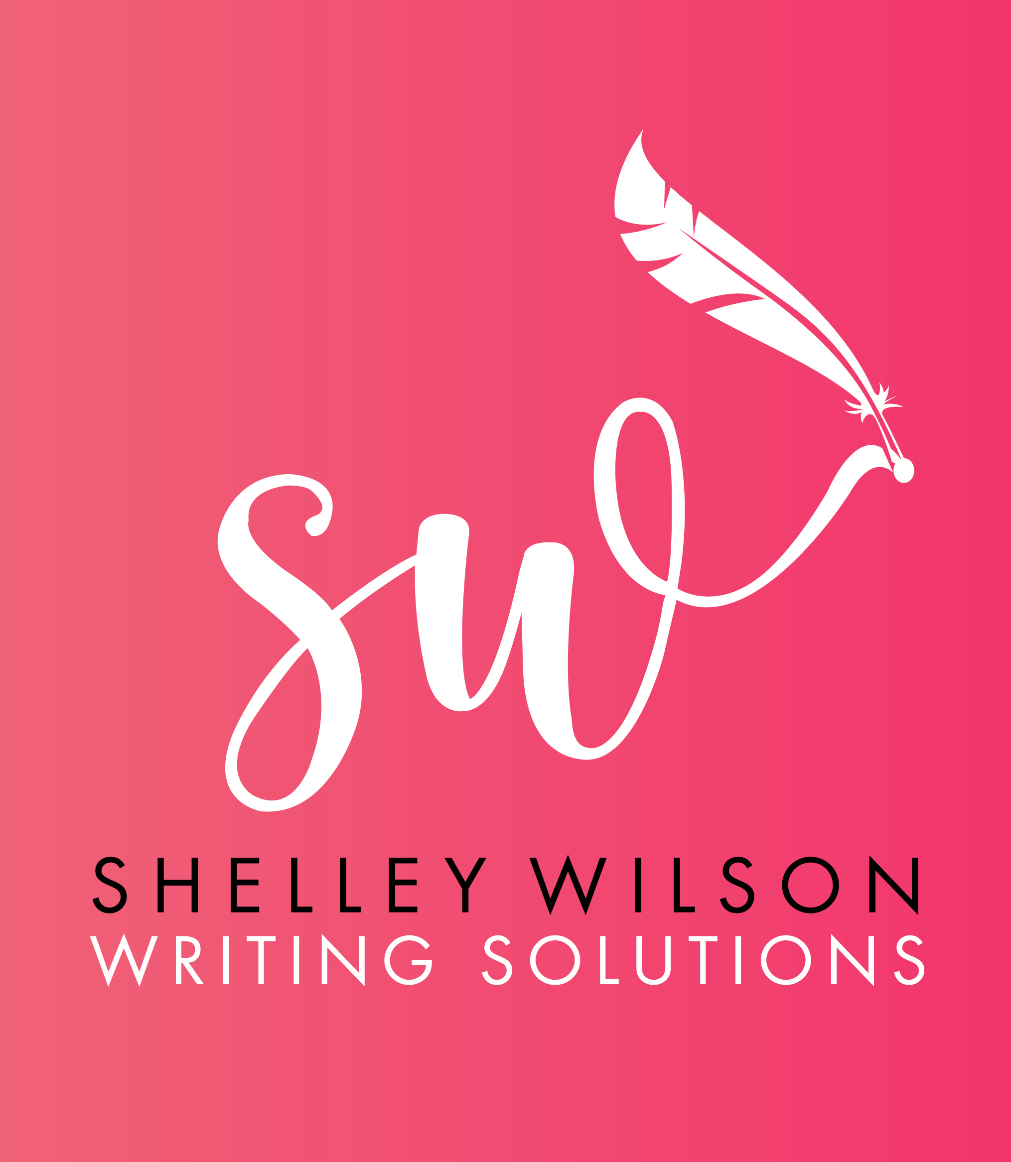 White Shelley Wilson Writing Solutions logo on a hot pink background
